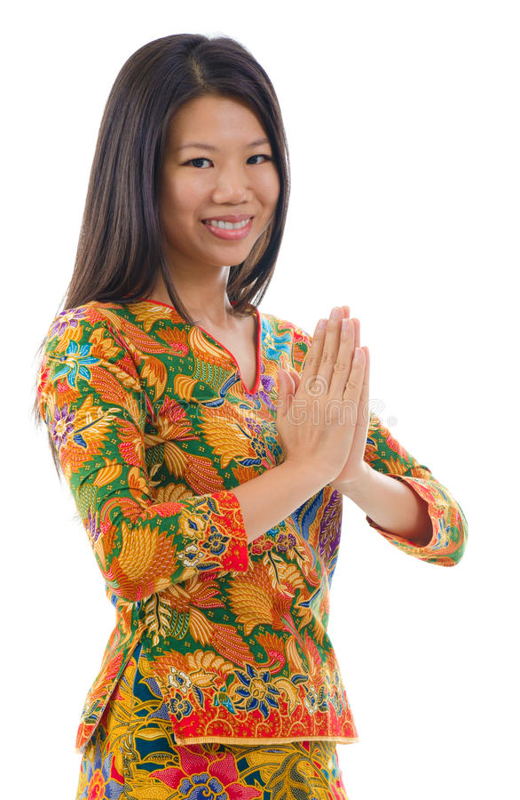 Southeast Asian Girl Greeting Stock Photo
