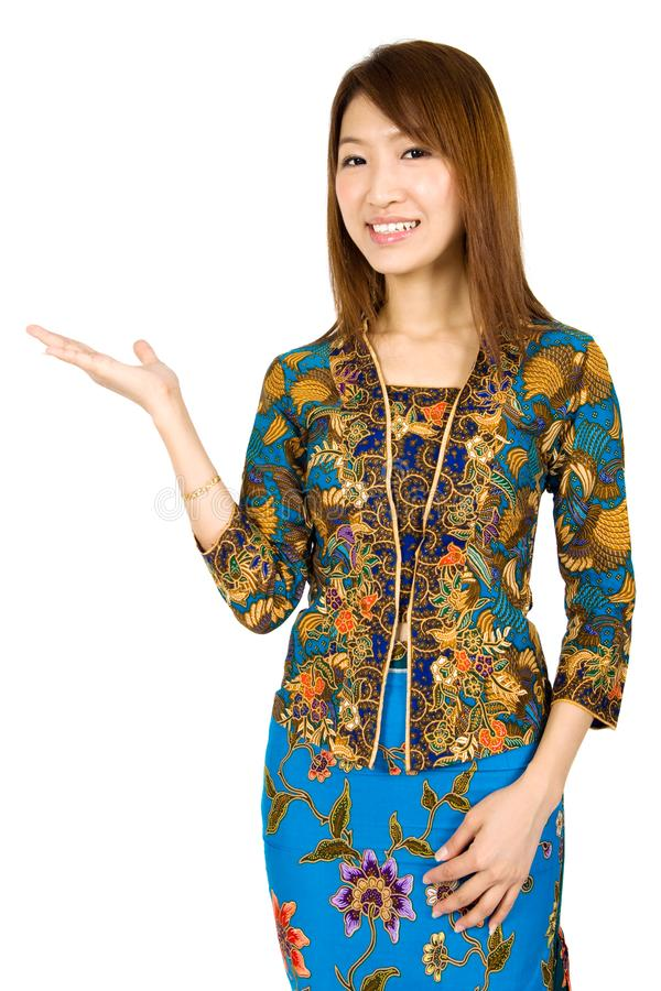 Southeast Asian girl showing something royalty free stock photography