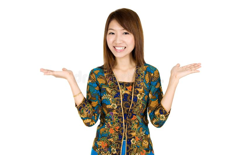 Southeast Asian woman showing something stock photography