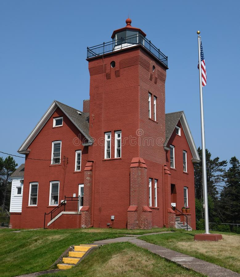 Southeast View of Two Harbors Lighthouse stock photo