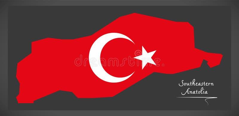 Southeastern Anatolia Indycza mapa z Tureckim flaga państowowa illu royalty ilustracja