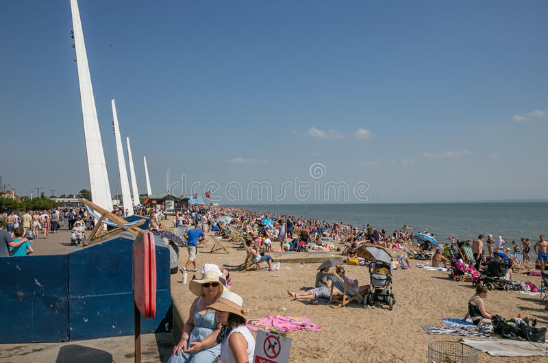 Southend beach crowded on a hot summer day. stock photography