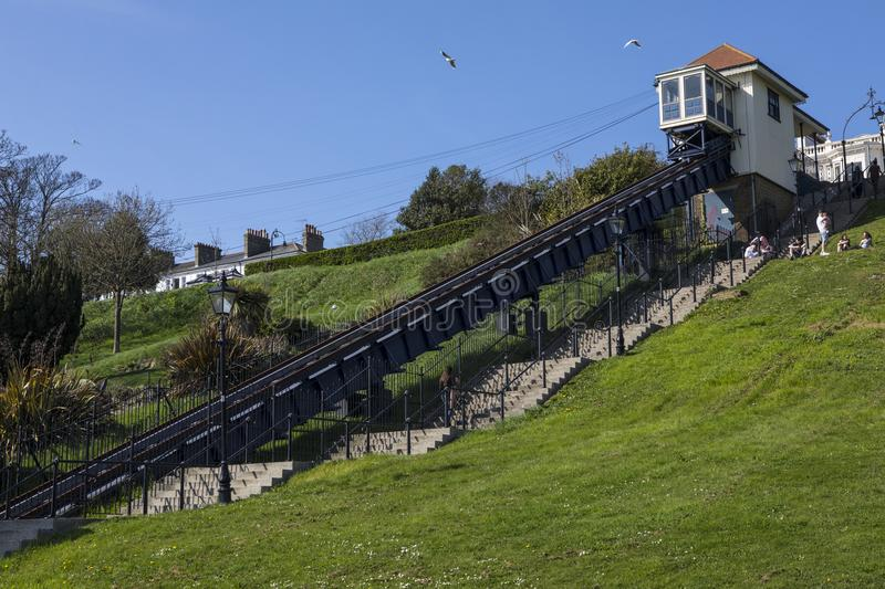 Southend Cliff Railway in Essex. SOUTHEND-ON-SEA, ESSEX - APRIL 18TH 2018: The Southend Cliff Railway, also known as the Southend Cliff Lift, in Southend-on-Sea royalty free stock photography