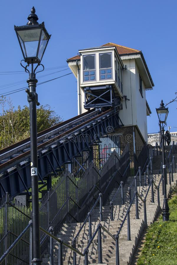 Southend Cliff Railway in Essex. SOUTHEND-ON-SEA, ESSEX - APRIL 18TH 2018: The Southend Cliff Railway, also known as the Southend Cliff Lift, in Southend-on-Sea stock image