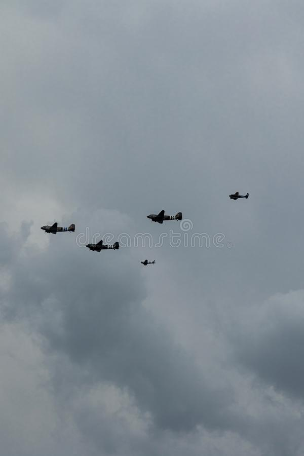 Southend, Essex/United Kingdom - June,5,2019 - D-Day Flypast. Showing world war 2 aircraft on a moody overcast sky stock image