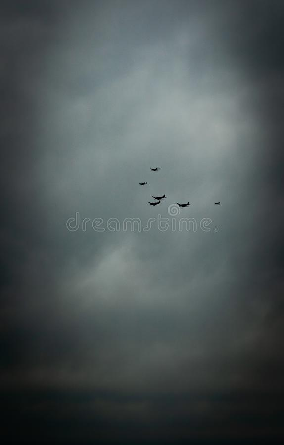 Southend, Essex/United Kingdom - June,5,2019 - D-Day Flypast. Showing world war two aircraft on a moody overcast sky stock photography