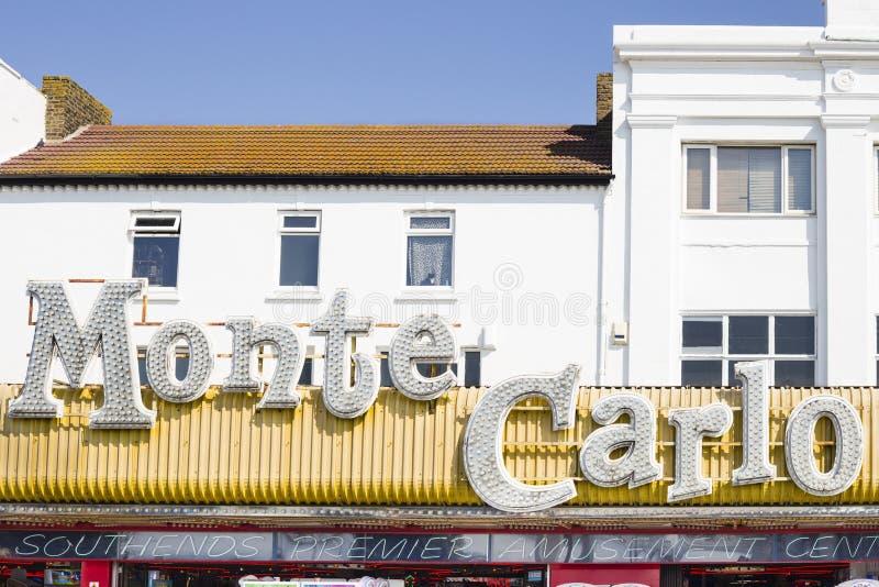 Southend-på-hav Essex - September 1, 2018: Den Monte Carlo logoen ovanför ingången i en av cent för Southend sjösidamunterhet fotografering för bildbyråer