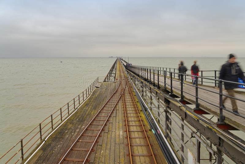 Southend Pier, essex, pier railway stock photography