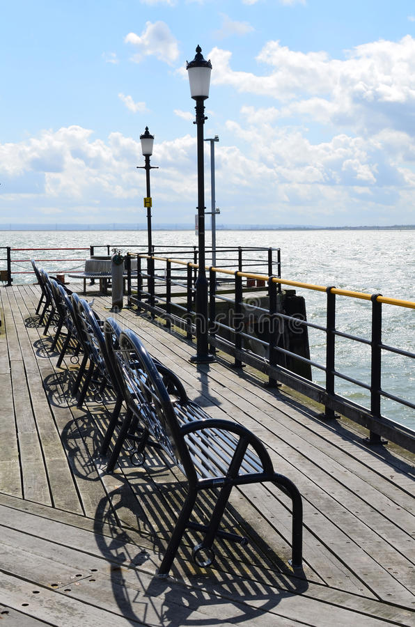 Southend pleasure pier. The Worlds longest pleasure pier at 1.34 miles in length.Image taken in May 2015 at Southend, Essex in the United Kingdom stock photo
