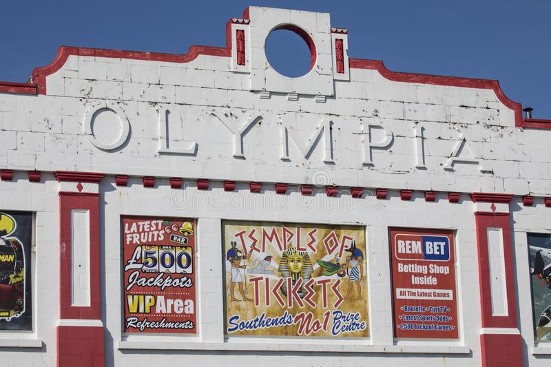 Olympia Amusement Arcade in Southend. SOUTHEND-ON-SEA - APRIL 18TH 2018: The Olympia Amusement Arcade building on Southend seafront in Southend-on-Sea in Essex royalty free stock images