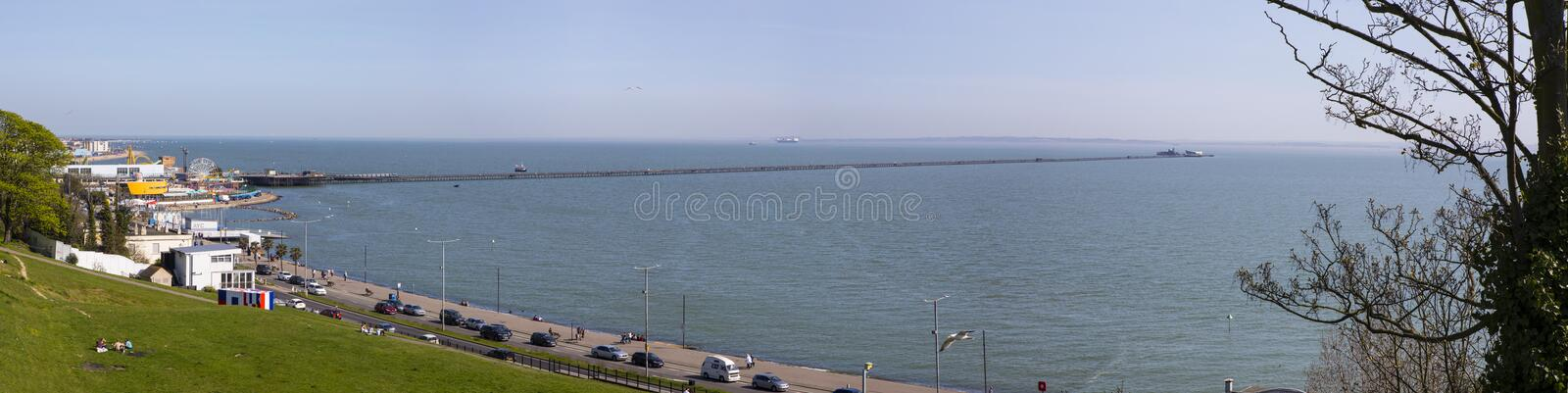 Southend-on-Sea in Essex. SOUTHEND-ON-SEA, ESSEX - APRIL 18TH 2018: A view of the seafront at Southend-on-Sea in Essex, on 18th April 2018. The view takes in the royalty free stock photos