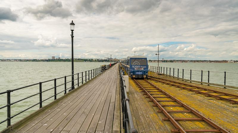 Southend-on-Sea, Essex, England, UK. May 30, 2017: View from Southend Pier longest pleasure pier in the world towards Southend, with the Pier Train stock image