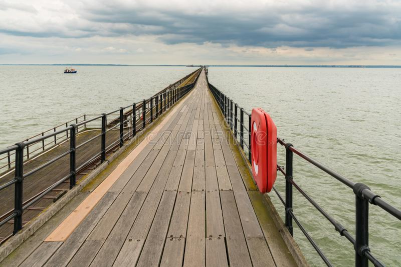 Southend-on-Sea, Essex, England, UK. May 30, 2017: View from Southend towards Southend Pier longest pleasure pier in the world stock photo