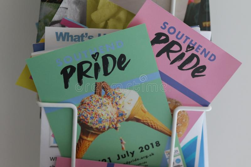 Southend on Sea, Essex, UK, 14 July 2018 Gay Pride Transpire Event, Pride Leaflets. Showing various different leaflets royalty free stock photos