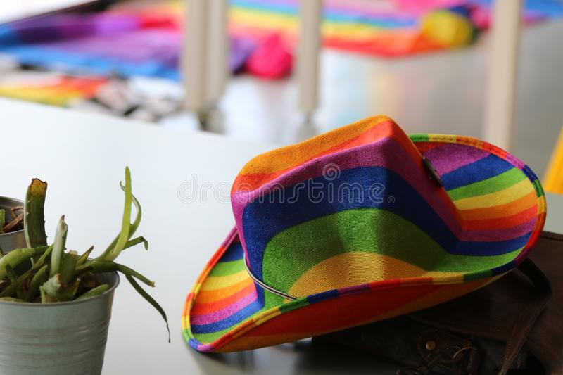 Southend on Sea, Essex, UK, 14 July 2018 Gay Pride Transpire Event. Rainbow hat with pride flags in background stock images