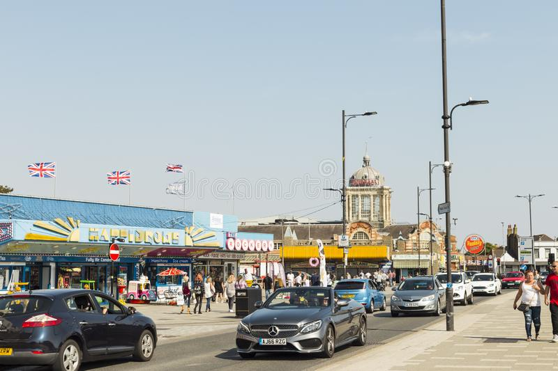 Southend On Sea. Essex, Uk - September 1, 2018: Vibrant Street scene of sunny relaxing holiday stock image