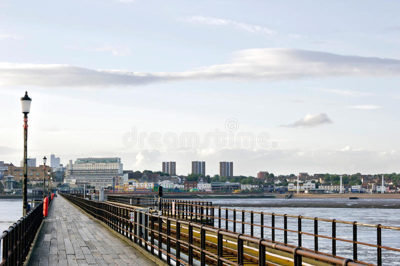 Southend-on-Sea Pier, Essex, England. Southend Pier is the towns historical icon as well as being the longest pleasure pier in the world, with its glorious 1.33 royalty free stock photo