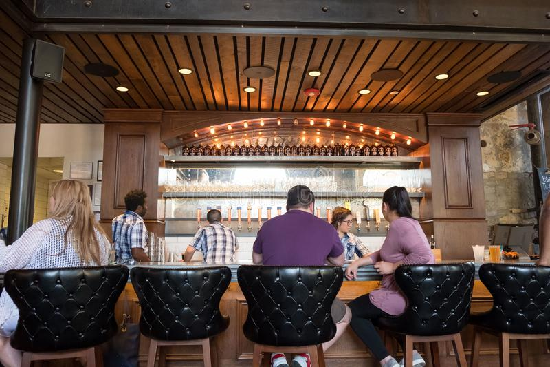 Southerleigh Brewing Company Beer. San Antonio, Texas - April 19, 2018: Craft beer served at Southerleigh, a brewery restaurant located in the Historic Pearl royalty free stock image