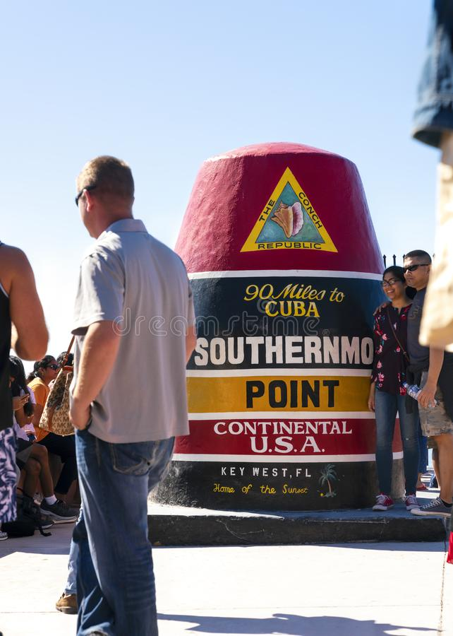 Southermost punkt Key West, Florida fotografering för bildbyråer