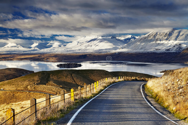 Southern Alps, New Zealand. Southern Alps and Lake Tekapo, view from Mount John, Mackenzie Country, New Zealand royalty free stock photos