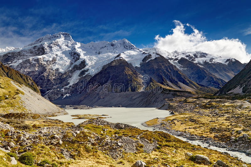 Southern Alps, New Zealand. Mount Sefton and valley, Southern Alps, New Zealand stock photos