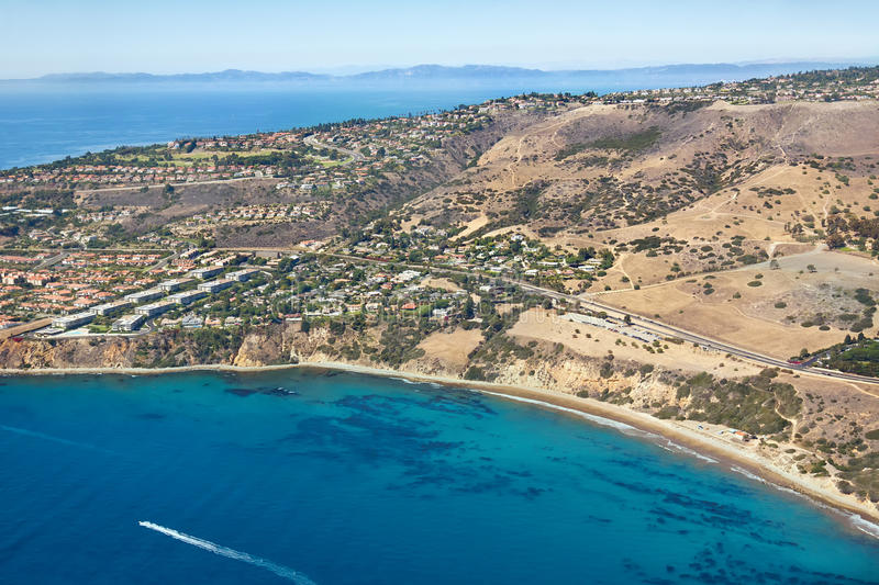 Southern California Coastline. Aerial view of a Southern California coastline sits near the city of Los Angeles royalty free stock photography