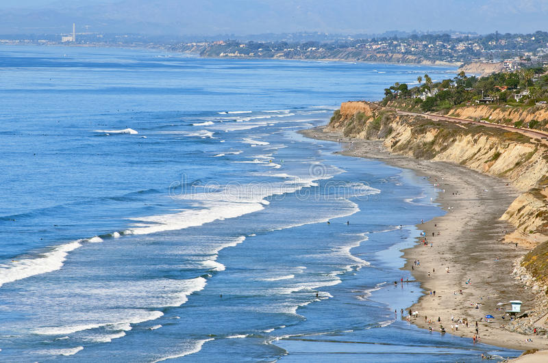 Southern Californian Beach. A panoramic view of north county San Diego, southern California, from on top of the cliffs of Torrey Pines State Natural Reserve Guy stock photos