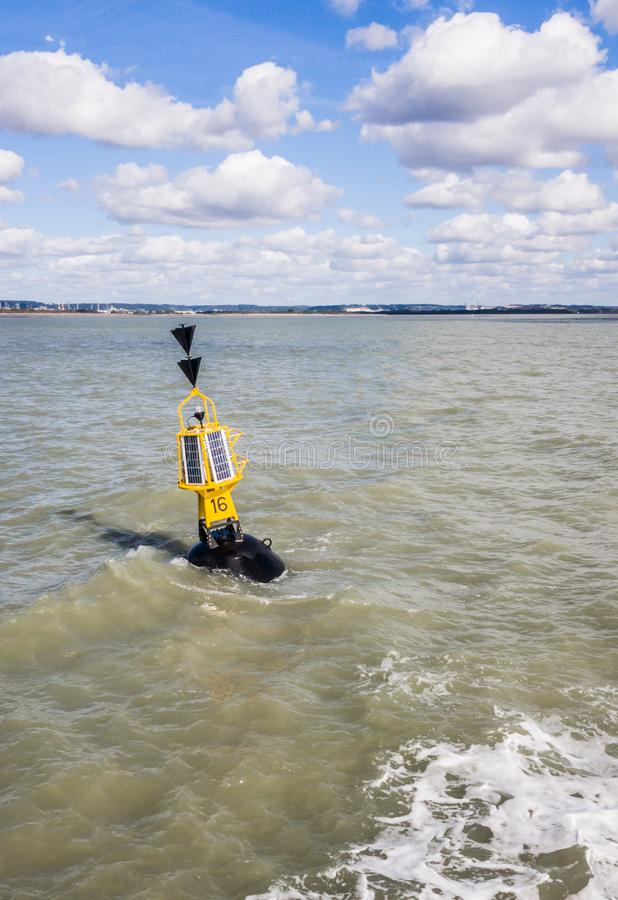 Southern cardinal mark. Is a buoy used in maritime pilotage to indicate the position of a hazard and the direction of safe water royalty free stock photography
