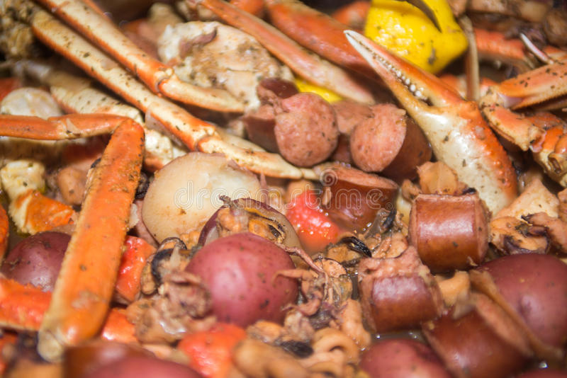 Southern country seafood and shrimp boil. Southern country seafood and shrimp c boil stock image