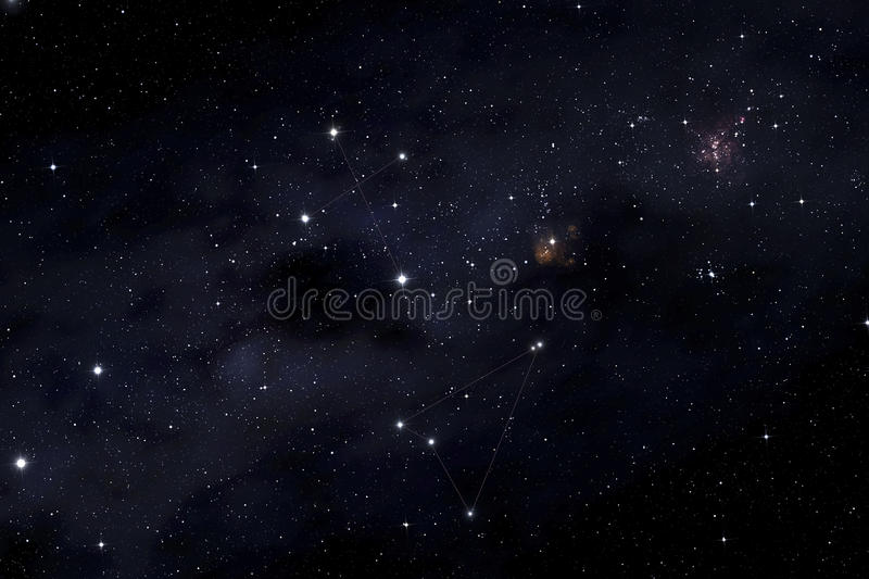 Southern cross and Musca constellations. On the Milky Way background royalty free illustration