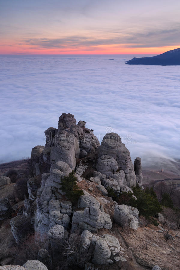 Southern Demerji. Evening on top of the southern Demerji, Crimea royalty free stock image