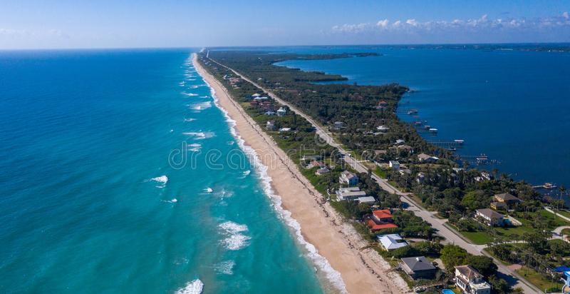 The Southern End of the Brevard County Island. The southern end of Brevard County ends at Sebastian Inlet in the distance royalty free stock photography