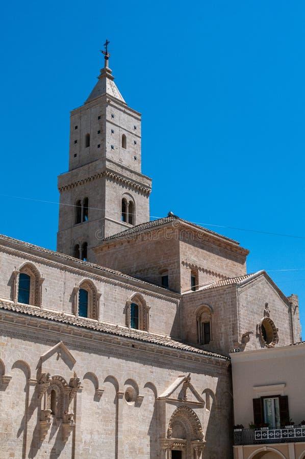 Italy. Matera. Pontifical Basilica - Cathedral of Maria Santissima della Bruna and Sant`Eustachio. Bell tower stock photography