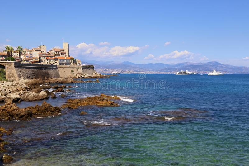 Southern France, Antibes: view of the Old City, sea and mountains royalty free stock images
