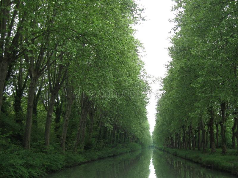 Southern France, side canal of the Garonne river,  called  Canal lateral a la Garonne royalty free stock photo