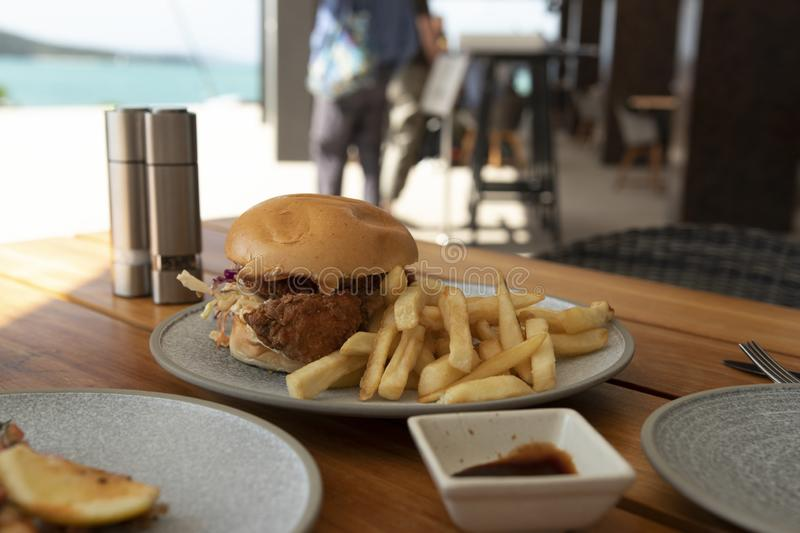 Southern fried chicken burger and fries royalty free stock photography