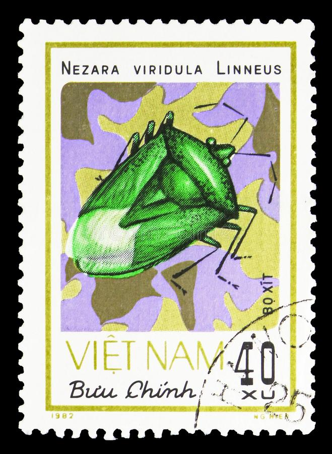 Southern Green Stink Bug (Nezara viridula), Insects serie, circa 1982. MOSCOW, RUSSIA - SEPTEMBER 26, 2018: A stamp printed in Vietnam shows Southern Green Stink royalty free stock photography