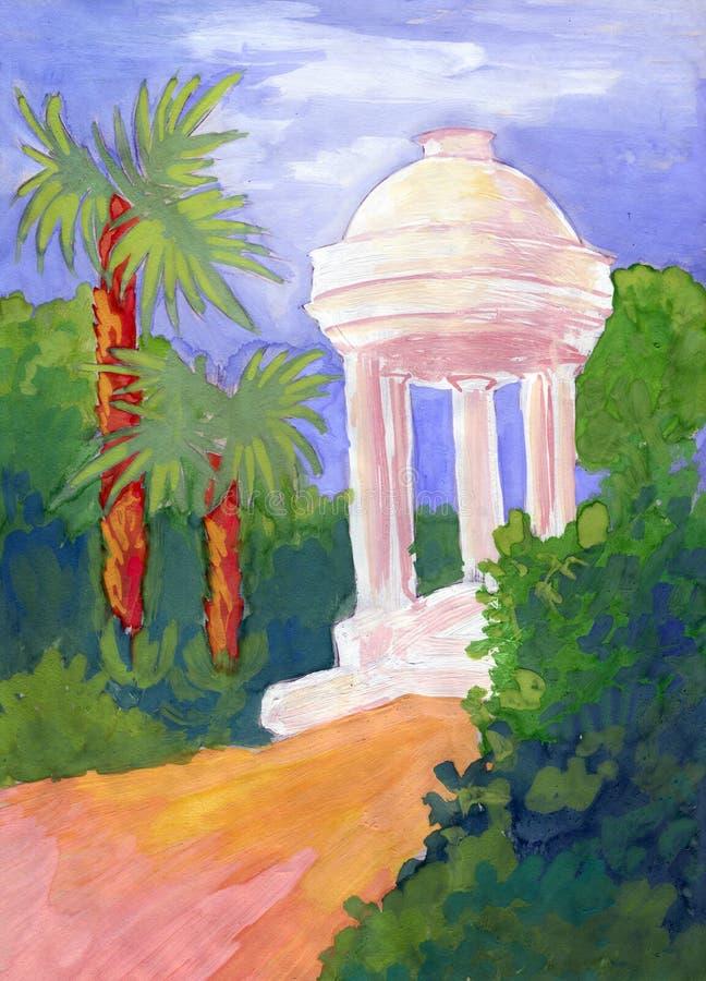 Southern landscape drawn by child stock photography