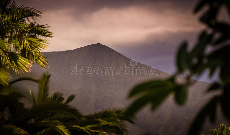 Southern Lanzarote volcano. Peak of a volcano with colorful defocused palmtrees in the foreground, southern Lanzarote, Canary Islands, Spain stock photography