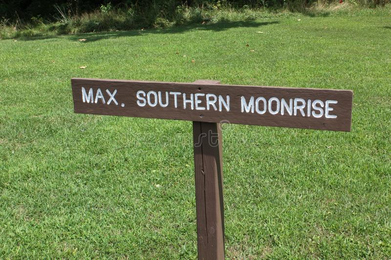 Southern Moonrise Sign board at Serpernt Mound. This is the Southern Moonrise Sign board at the great Serpent Mound of Ohio, United States. This Mound was built royalty free stock photo