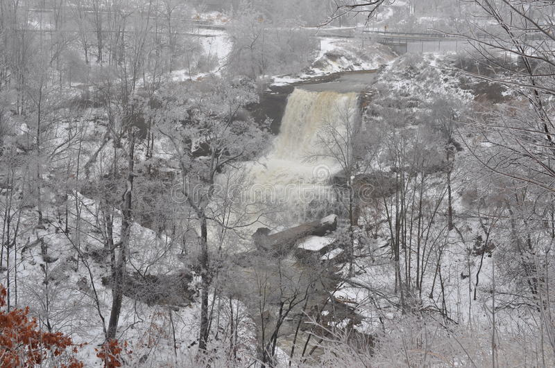 Southern Ontario Ice Storm - Dec. 22, 2013. Hamilton has become known as the city of waterfalls and this photo of Albion Falls shows the severity of water flow royalty free stock photos