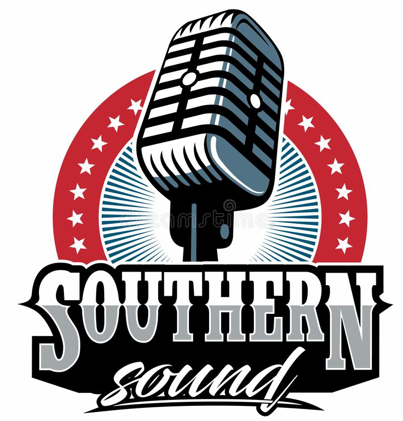 Southern rock vector logo, vintage microphone vector, old radio. Southern rock vector logo, vintage microphone vector, old radio royalty free illustration