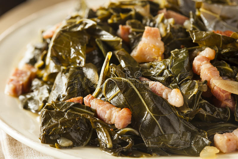 Southern Style Collard Greens. With Salt Pork royalty free stock photography