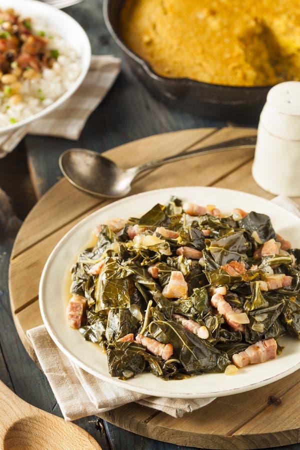 Southern Style Collard Greens. With Salt Pork stock photo