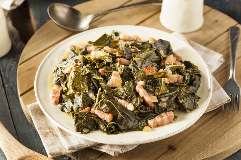 Southern Style Collard Greens. With Salt Pork royalty free stock image