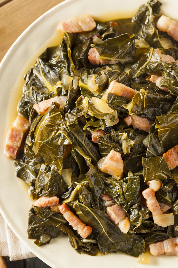 Southern Style Collard Greens. With Salt Pork royalty free stock images