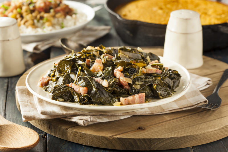 Southern Style Collard Greens. With Salt Pork stock image