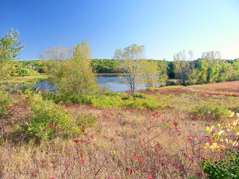 Southern Wisconsin Prairie Landscape. Lake La Grange of the Kettle Moraine State Forest in Wisconsin royalty free stock photo