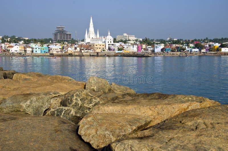 Southest India city Kanyakumari from long stones pier. Southest India city Kanyakumari panorama from big long stones pier royalty free stock photo