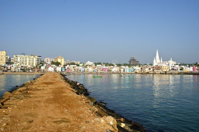 Southest India city Kanyakumari panorama. From long sea pier royalty free stock image
